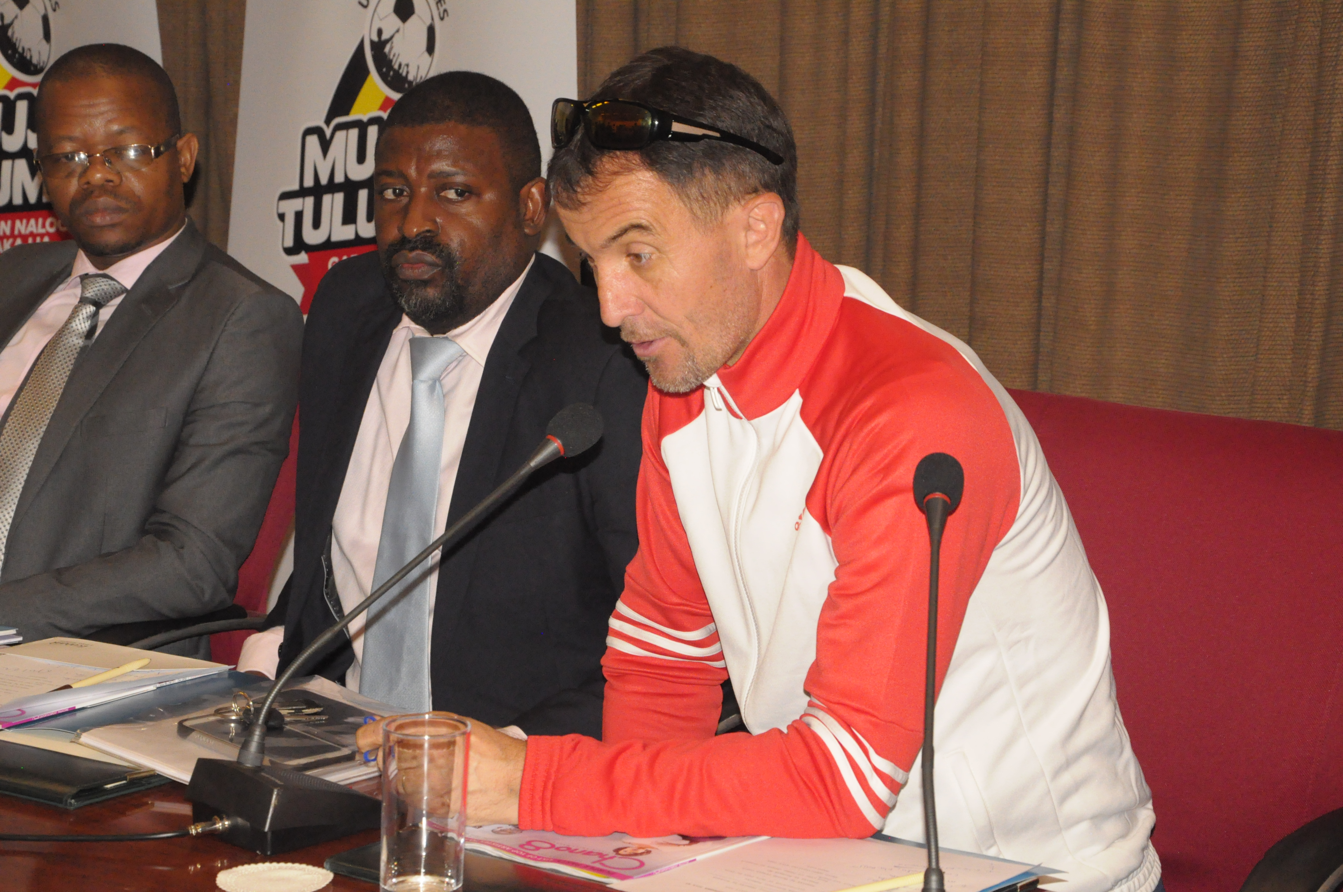 Micho addresses the media and guests during the Press conference held on Tuesday at Serena Hotel in Kampala