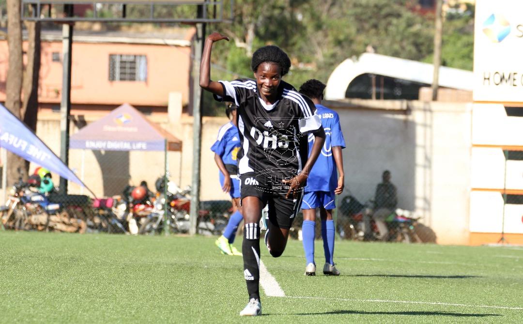 Alupo Norah celebrates her goal against Gafford Ladies FC