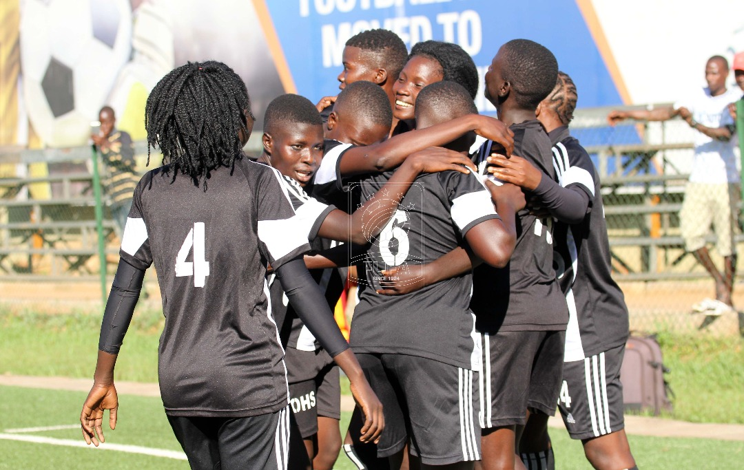 Olila women FC celebrating their goal against Gafford Ladies FC in the FWEL playoffs StarTimes Stadium Lugogo
