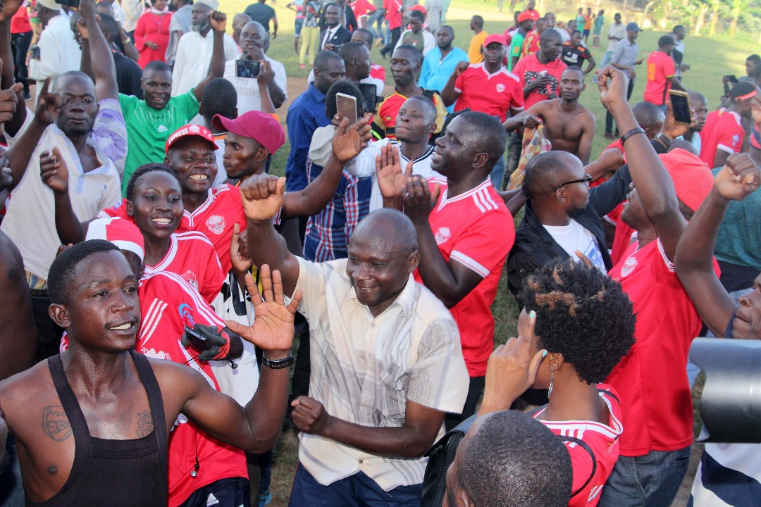Express FC Fans celebrate relegation at Bugonga