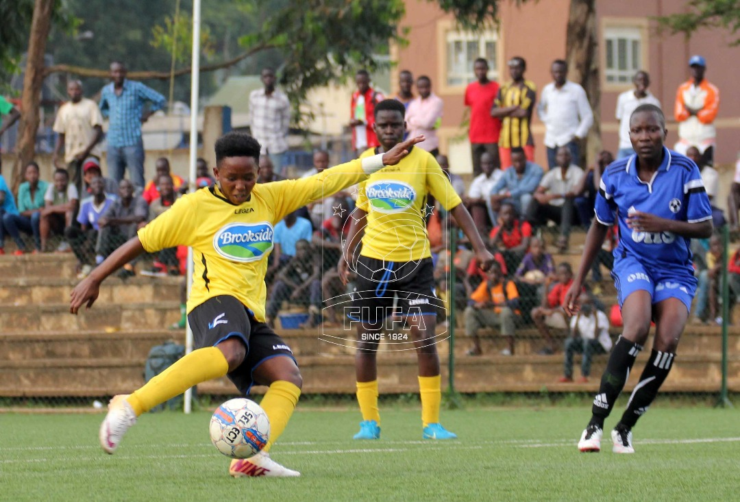 Tracy Jones Akiror unleashing the shot that won Kawempe their 4th league title